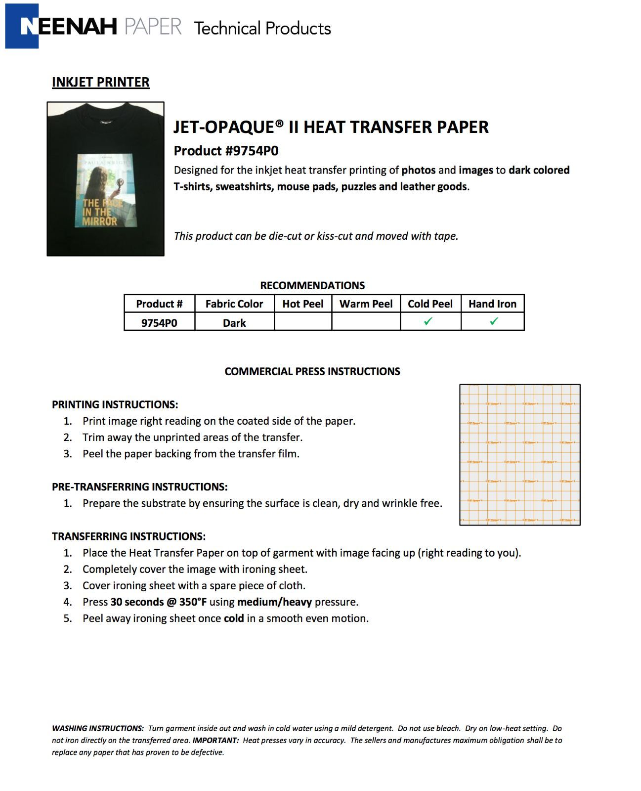 Printable Heat Transfer Sheets For Dark Fabrics Inkjet